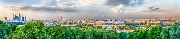 Panoramic view of central Moscow from Sparrow Hills. Russia Stock Images