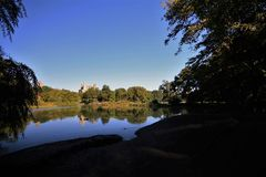 Panoramic view of a central park lake in New York city royalty free stock photo