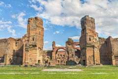Panoramic view on the central part of the ancient Roman Baths of Caracalla ( Thermae Antoninianae ) Stock Photo