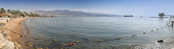 Panoramic view on central public beach in Eilat, Israel Royalty Free Stock Image