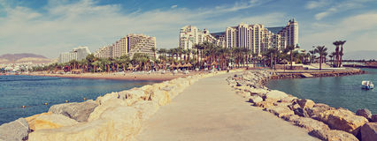 Panoramic view on central public beach in Eilat, Israel Stock Image