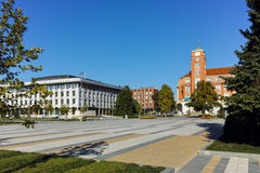 Panoramic view of Central square in  City of Pleven Royalty Free Stock Photography
