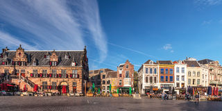 Panoramic view of the central square in the Dutch city of Nijmeg Royalty Free Stock Photography