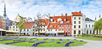 Panoramic view on central square of Riga city, Latvia, Europe Stock Photos