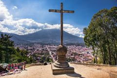 Panoramic view from Cerro de la Cruz with Volcano De Agua in An. Panoramic view from Cerro de la Cruz with Volcano De Agua in the background in Antigua royalty free stock photo