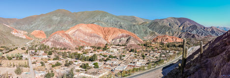 Panoramic view of Cerro de los Siete Colores, Argentina Stock Photos