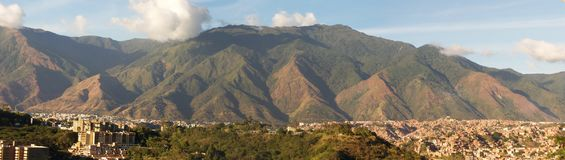 Panoramic view of Caracas and cerro El Avila National Park, famous mountain in Venezuela. A view of the El Avila National Park most famous mountain in Caracas royalty free stock photography