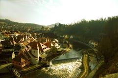 Panoramic view of Cesky Krumlov Stock Photography