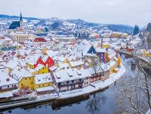 Panoramic view of Cesky Krumlov , Czech Republic. View of the snow-covered roofs. Travel and Holiday in Europe. Ch royalty free stock photography