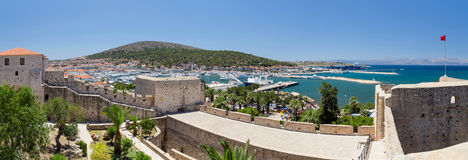 Panoramic view of Cesme from the castle, Turkey royalty free stock images
