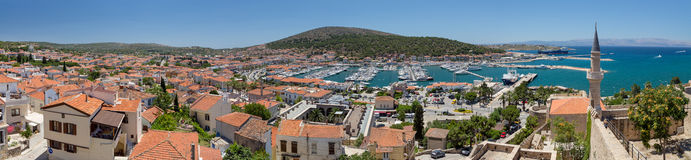 Panoramic view of Cesme from the castle, Turkey Stock Images