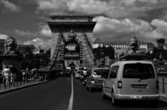 Panoramic view of the Chain bridge & Buda Castle in Budapes stock image