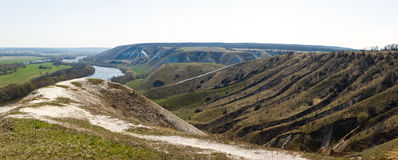 Panoramic view of the chalk hills on the banks of the Don River Stock Photo