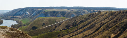 Panoramic view of the chalk hills on the banks of the Don River Royalty Free Stock Photo