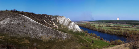 Panoramic view of the chalk hills on the banks of the Don River Royalty Free Stock Image