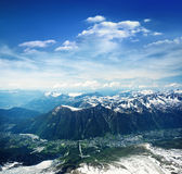 Panoramic view of Chamonix valley Royalty Free Stock Image