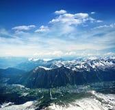 Panoramic view of Chamonix valley Royalty Free Stock Image