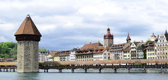 Panoramic view of Chapel Bridge. Lucerne Royalty Free Stock Images