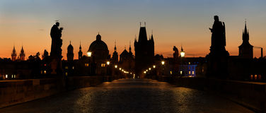 Panoramic view of Charles Bridge before dawn Stock Photos