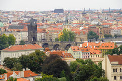 Panoramic View of Charles Bridge in Prague Royalty Free Stock Image