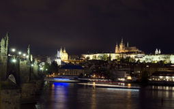 Panoramic view Charles Bridge Vltava River Castle district  crui Stock Image