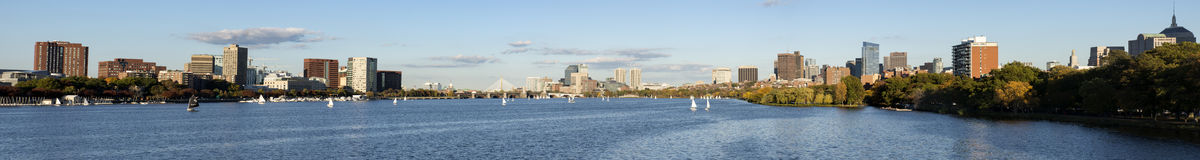 Panoramic view in Charles River Boston Stock Photos