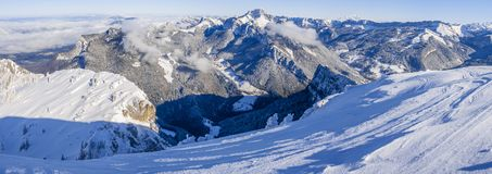 Panoramic view of the Chartreuse mountains covered in snow with the Mont Blanc behind royalty free stock images