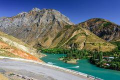 Panoramic view of Charvak Lake, a huge artificial lake-reservoir created by erecting a high stone dam on the Chirchiq River. Panoramic view of Charvak Lake, a royalty free stock photos
