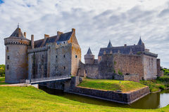 Panoramic view of Chateau de Suscinio in Gulf of Morbihan, Britt. Any (Bretagne), France Royalty Free Stock Photography