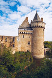 Panoramic view of Chateau de Suscinio in Gulf of Morbihan, Britt. Any (Bretagne), France Royalty Free Stock Photos