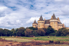 Panoramic view of Chateau de Suscinio in Gulf of Morbihan, Britt. Any (Bretagne), France Stock Photography