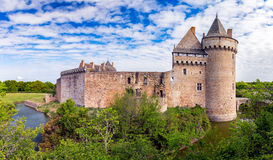 Panoramic view of Chateau de Suscinio in Gulf of Morbihan, Britt. Any (Bretagne), France Stock Images