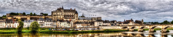 Panoramic view on Chateau and village of Amboise on Loir river stock images