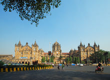 Panoramic view of Chatrapti Shivaji Terminus in South Mumbai, India which is a UNESCO World Heritage site. With copy space. Royalty Free Stock Photo