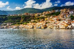 Panoramic view of Chianalea di Scilla. Colourful sunny fishing village in Calabria, Italy stock photography