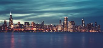 Panoramic view of Chicago by night, special photographic royalty free stock photo