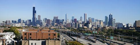 Panoramic view of Chicago from the south Royalty Free Stock Images