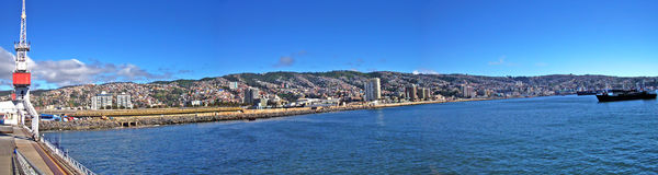 Panoramic view of chilean beach and port royalty free stock images