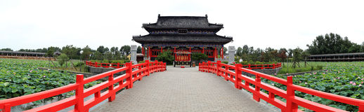 Panoramic view of chinese temple Stock Image