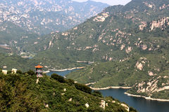 Panoramic view of Chinese temple on the hills of Qinglongxia, Beijing Royalty Free Stock Image
