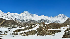 Panoramic view of the Cho-Oyu Mount on the background of blue sk Stock Photos