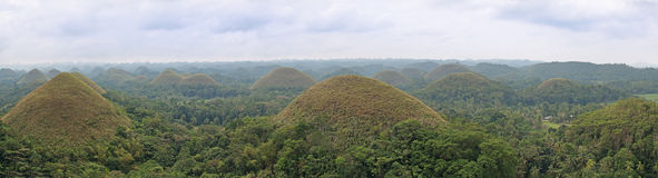 Panoramic view of the Chocolate Hills in Bohol, Philippines Stock Photography