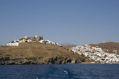 Panoramic view of Chora of Astypalea - Greece. Historic Venetian Querini Castle stands at the top of the Chora - Dodecanese Islands - Greece Royalty Free Stock Images
