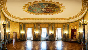 Panoramic view in the Christiansborg Palace. Panoramic view of a large room in Christiansborg Palace, Copenhagen, Denmark Royalty Free Stock Photo