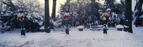 Panoramic view of Christmas wreath on lampposts in Central Park, Manhattan, New York City following winter snowstorm Stock Photo
