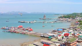 Panoramic view of Chumphon estuary Fishing Village with cloudy sky ,Thailand. Fishing is the main occupation for the villagers stock photos