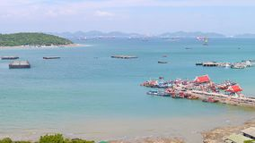 Panoramic view of Chumphon estuary Fishing Village with cloudy sky ,Thailand. Fishing is the main occupation for the villagers stock photo