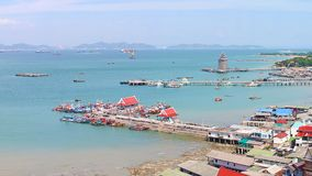 Panoramic view of Chumphon estuary Fishing Village with cloudy sky ,Thailand. Fishing is the main occupation for the villagers,ind Stock Images