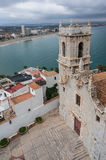 Panoramic view of the church bell tower from the castle in Peniscola Royalty Free Stock Images