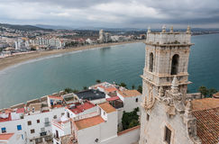 Panoramic view of the church bell tower from the castle in Peniscola Stock Photos